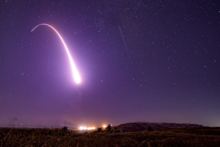 An unarmed Minuteman III intercontinental ballistic missile launches during an operational test at Vandenberg Air Force Base, California. (Photo courtesy of U.S. Air Force photo/Sgt. J.T. Armstrong)