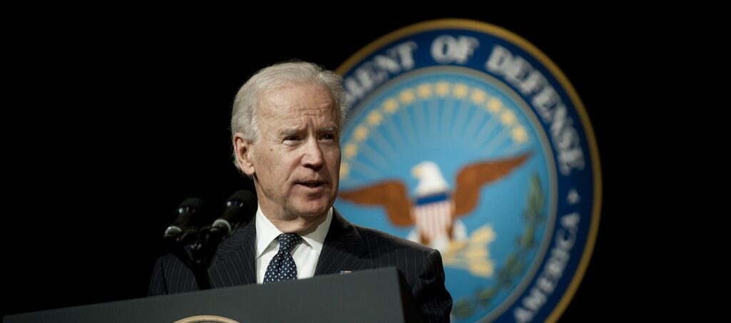 President-elect Joe Biden speaks as Vice President during a welcoming and swearing in ceremony for Defense Secretary Chuck Hagel at the Pentagon, March 14, 2013. (U.S. Department of Defense photo by Mass Communication Specialist 1st Class Chad J. McNeeley/Released. Via Wikimedia Commons.